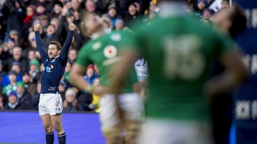 Greig Laidlaw celebrates Scotland's win over Ireland last season