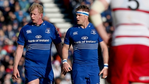 Leo Cullen alongside Jamie Heaslip in the colours of Leinster