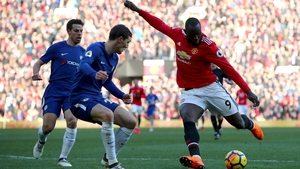 Romelu Lukaku shoots against former employers Chelsea at Old Trafford