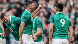 Rob Kearney and Conor Murray celebrate the victory over Wales that made it three wins from three in the competition