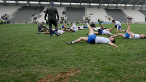 Waterford players warm down after their win over Cork at Páirc Uí Chaoimh yesterday