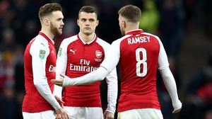 Aaron Ramsey, Calum Chambers and Granit Xhaka look out of ideas during the loss to Manchester City