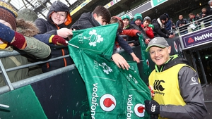 Joe Schmidt acknowledges the fans at today's open training session at the Aviva Stadium
