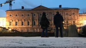 A snowy scene at Leinster House