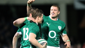 Brian O'Driscoll (13) and Jamie Heaslip (r) won two Six Nations titles together for Ireland