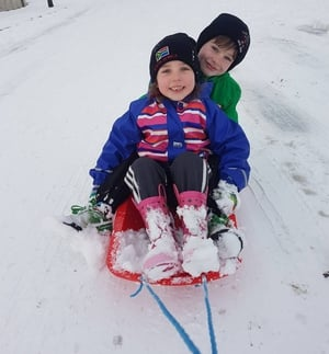 'Snow' school for Freya and Harry Grennan in Tullamore this week