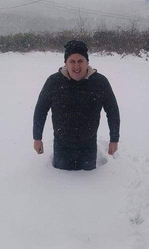 Up to his waist in snow in Knockbride, Cavan - By Adrian Kivlehan