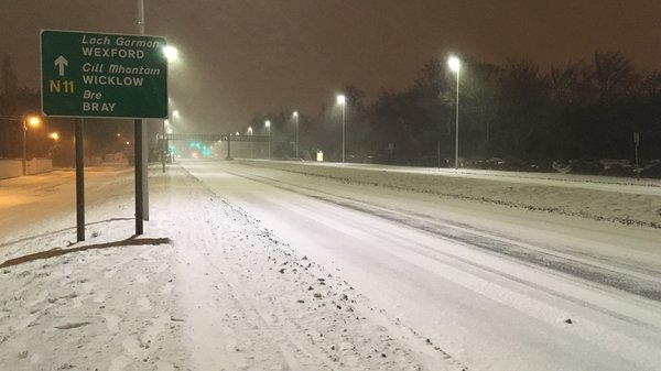 Snow on the N11 in Dublin this evening