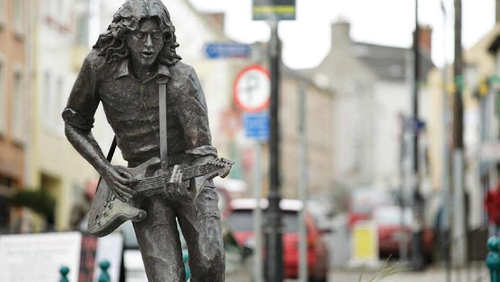 The Rory Gallagher statue, by David Annand, in Ballyshannon, Co. Donegal