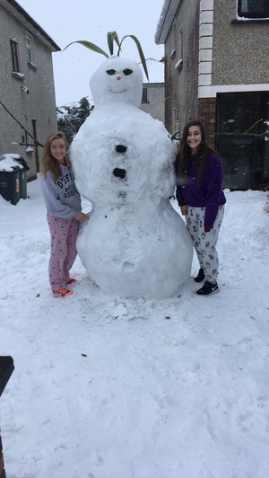 Snowwomen in Maynooth (Pic: Clare Kennefick)