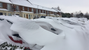Cars covered in snow at Stepaside in Dublin