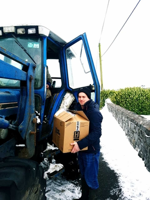 Special delivery of a wedding cake in the snow - Paddy O'Shaughnessy and Pete Manvell in Roscommon