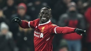 Sadio Mane celebrates his goal