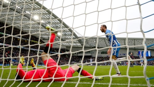 Glenn Murray of Brighton and Hove Albion celebrates after scoring his sides first goal