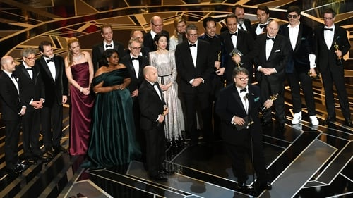 The Shape of Water's Guillermo del Toro (front and centre) - Savouring Best Picture and Director Oscars among his film's four wins