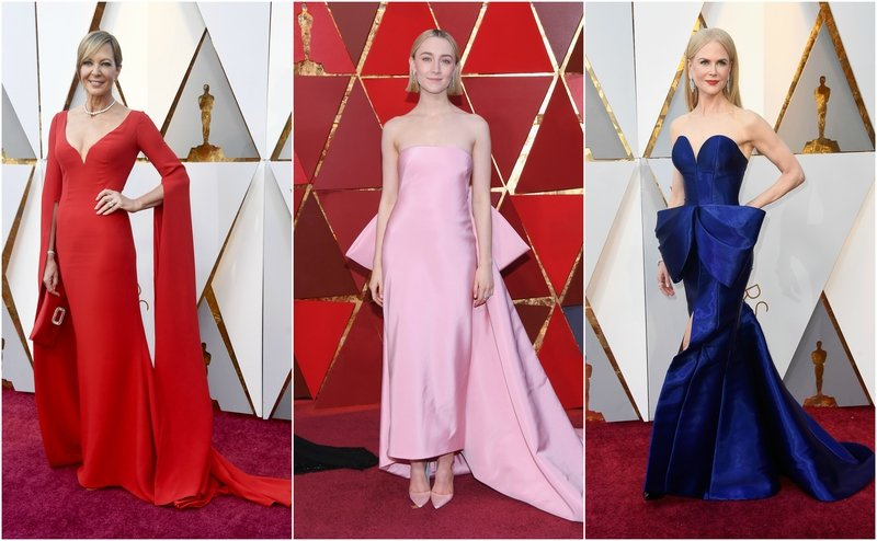 From Stunning Red Gowns To Modern Linear Cuts Bows The Oscars 2018