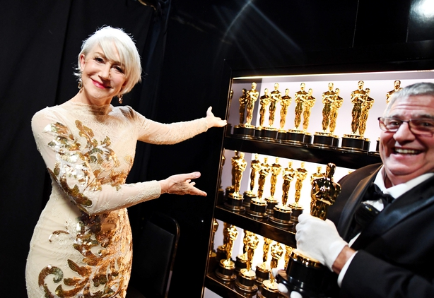 Helen Mirren in another fabulous outfit ahead of taking to the stage at the Oscars