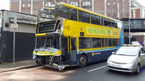 The bus driver and two people in the van were taken to hospital with minor injuries