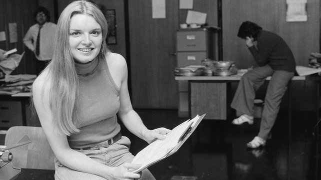 Broadcaster Áine O'Connor, in RTÉ Television's general production office (1974)