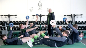 Jack O'Donoghue, John Ryan, Devin Toner, Rory Best, Tadhg Furlong, Iain Henderson and CJ Stander are put through their paces by fitness coach Jason Cowman