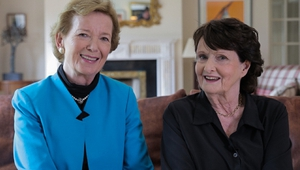 Former President of Ireland Mary Robinson (L) with poet Eavan Boland (R)