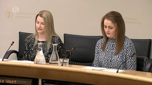 Lois West and Laura Galligan at the Oireachtas Justice Committee