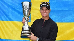 Anna Nordqvist with the 2017 Evian Championship trophy