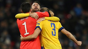 Gianluigi Buffon, Andrea Barzagli and Giorgio Chiellini celebrate at Wembley