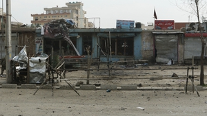 The scene of the suicide bombing in Kabul