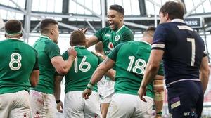 Ireland celebrate Sean Cronin's try