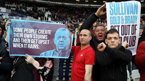 West Ham co-owner 'hit by coin' in crowd trouble
