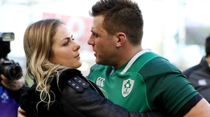 CJ Stander celebrates with his wife after the win over Scotland