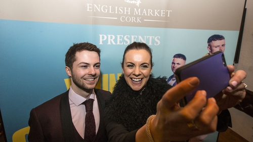 Young Offenders stars Alex Murphy and Hilary Rose at Cork's English Market on Saturday night