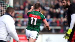 Aidan O'Shea celebrates his goal in Mayo's victory
