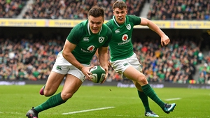 Jacob Stockdale took his tally to 10 tries in eight games for Ireland