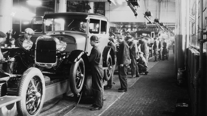 Assembly line workers at the Ford Motor Company factory at Dearborn, Michigan. Photo:
