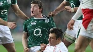 Brian O'Driscoll celebrates his crucial try against England at Croke Park in 2009/