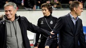 Happier times: Jose Mourinho (L) with Frank de Boer