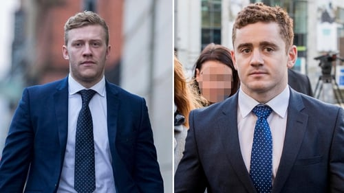 Stuart Olding (L) and Paddy Jackson deny raping the same woman after a night out in Belfast