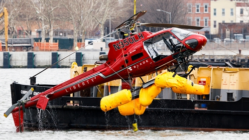 The Eurocopter AS350 was lifted from the East River yesterday
