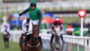 Ruby Walsh crosses the finish line about Footpad