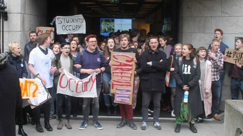 Students are protesting against plans by the college to introduce a €450 flat-fee for exam resits
