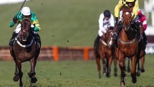 Buveur D'Air (left) battles home ahead of Melon to win the Champion Hurdle