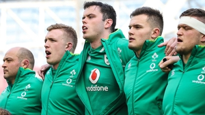(L to R): Ireland's Rory Best, Dan Leavy, James Ryan, Jacob Stockdale and Andrew Porter