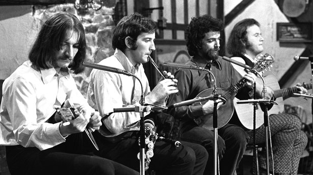 Planxty performing in the 1970s (L-R) Donal Lunny, Liam O'Flynn, Andy Irvine and Christy Moore.