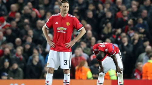 Manchester United's Nemanja Matic and Eric Bailly (R) during United's defeat to Sevilla