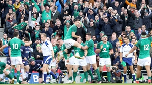 Ireland celebrate Sean Cronin's try, their fourth, against Scotland