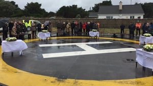 Families of the R116 crew gathered at Blacksod to mark the first anniversary of the crash
