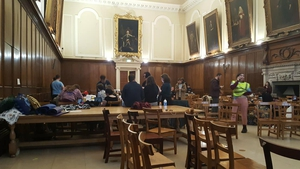 A number of students are taking part in the protest in the dining hall at Trinity College Dublin