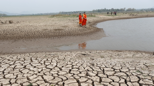 The panel says 40% of the world's population is being affected by water scarcity